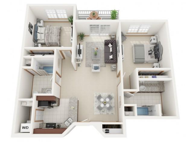 Floor Plan B | Riverwood Apartments | Apartments in Kenosha, WI