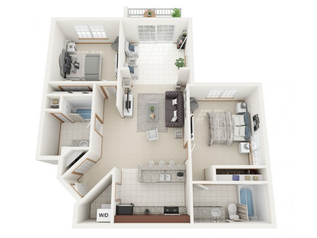 Floor Plan D | Riverwood Apartments | Apartments in Kenosha, WI