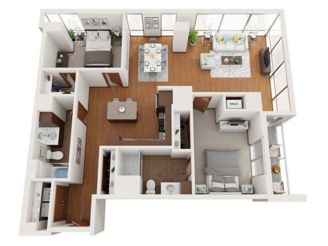 Floor Plan B1 | Domain | Apartments in Madison, WI
