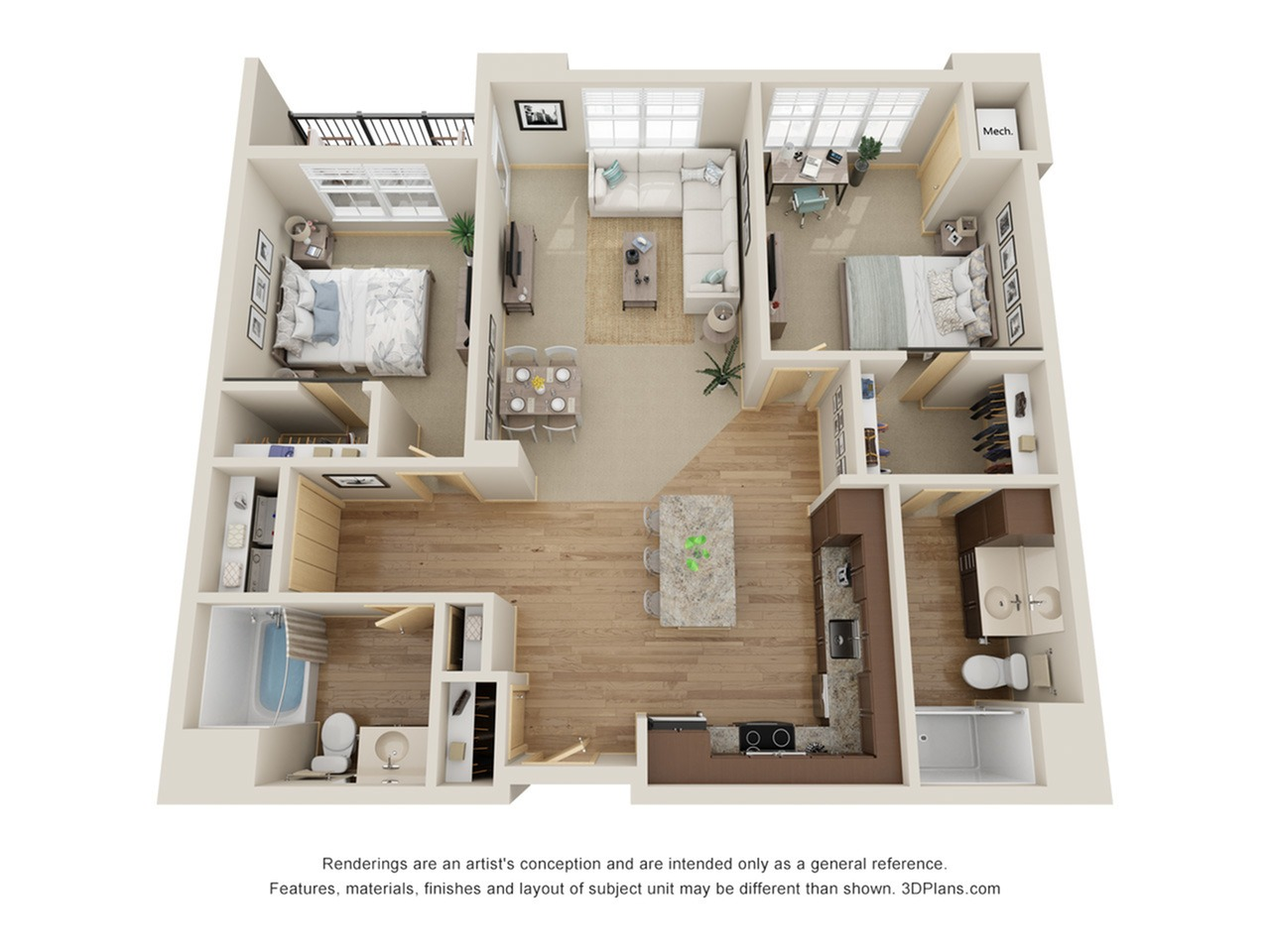 Floor Plan D2 | The Junction | Apartments in Menomonee Falls, WI