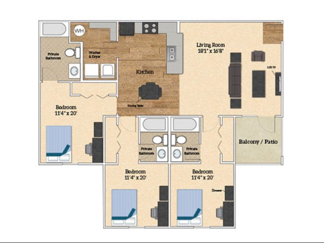 Floor Plan C | Savoy Apartments | The Village at Colbert Park