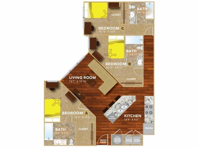 Floor Plan 5 | Lincoln Student Housing | 8 | N Lofts