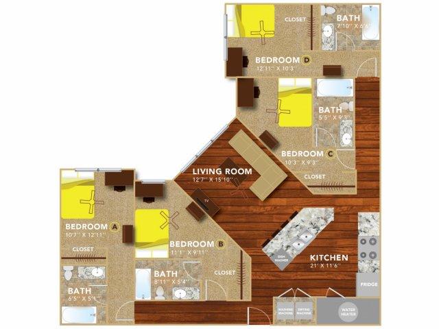 Floor Plan 10   Lincoln Student Housing   8   N Lofts