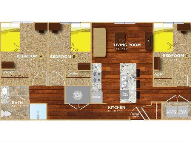 Floor Plan 7 | Lincoln Student Housing | 8 | N Lofts