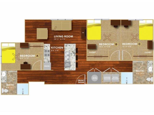 Floor Plan 6 | Lincoln Student Housing | 8 | N Lofts