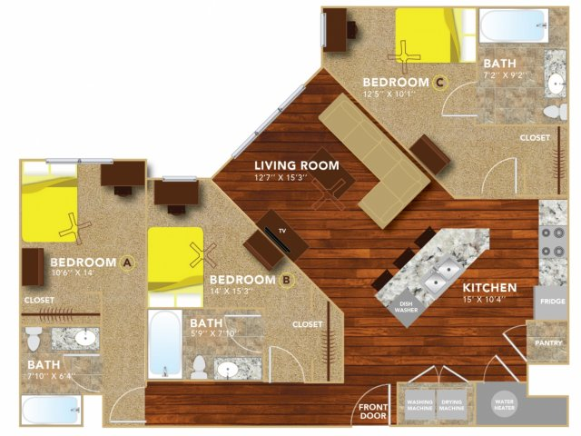 Floor Plan 8   Lincoln Student Housing   8   N Lofts