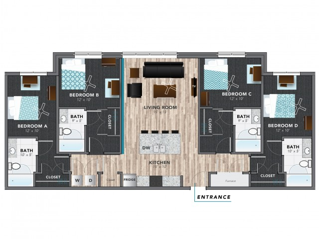 4 Bed 2 | Indianapolis Apartments | Lux on Capitol