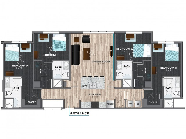 4 bed 3 | Indianapolis Apartments | Lux on Capitol