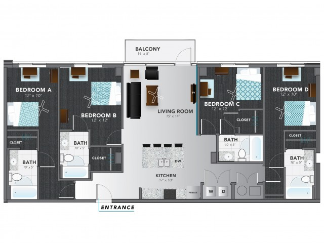 4 bed 5 | Indianapolis Apartments | Lux on Capitol