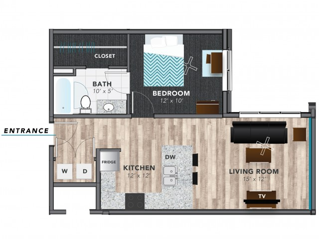 1 Bed 2 | Indianapolis Apartments | Lux on Capitol