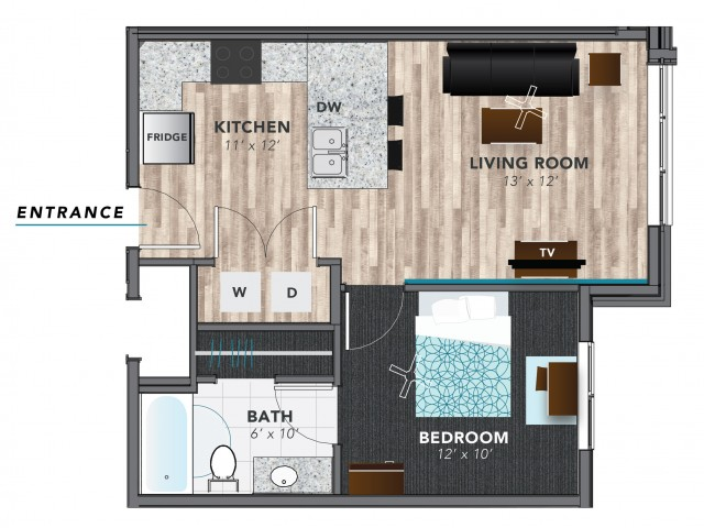 1 bed 3 | Indianapolis Apartments | Lux on Capitol