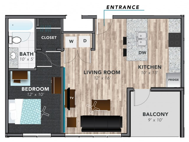 1 Bed A | Indianapolis Apartments | Lux on Capitol