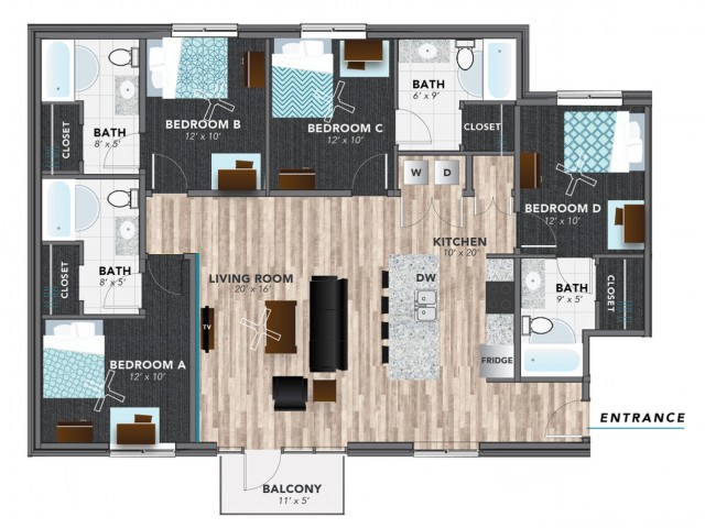 4 bed 6 | Indianapolis Apartments | Lux on Capitol