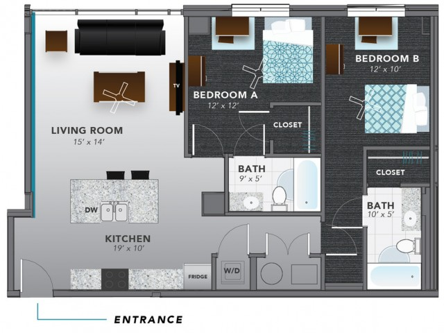 2 Bed 1 | Indianapolis Apartments | Lux on Capitol