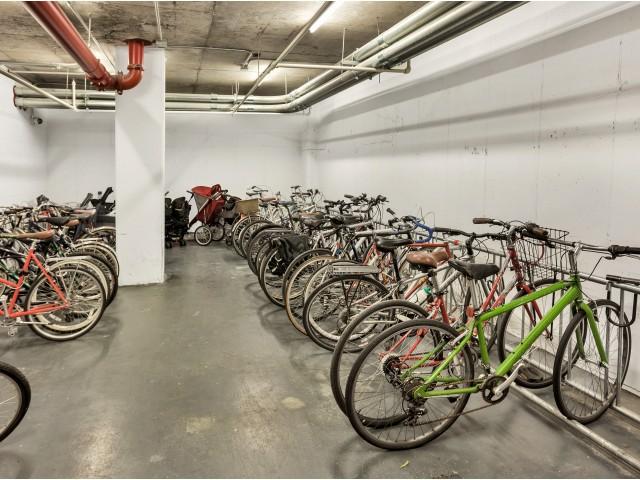 Arabella 101, interior, bike storage, dozens of bikes
