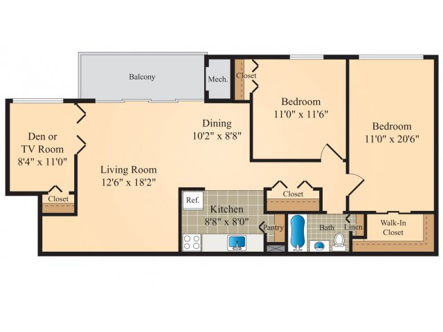 All|Floor Plans2 Bedroom With Den Medium