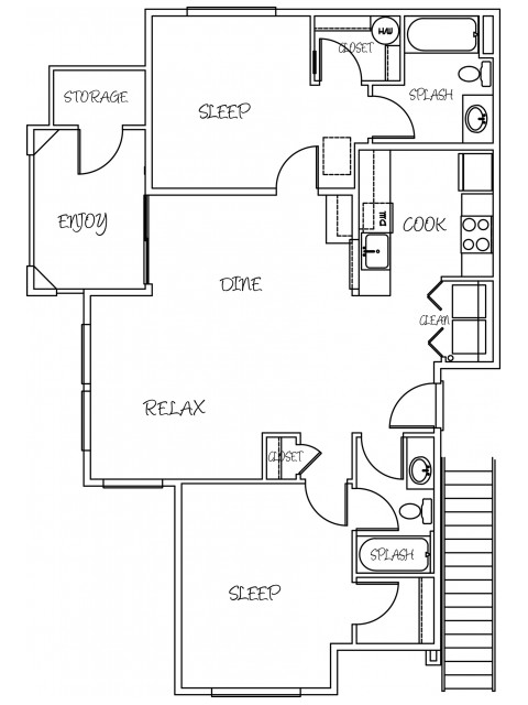 2 Bedroom Floor Plan | Puyallup Apartments | Silver Creek