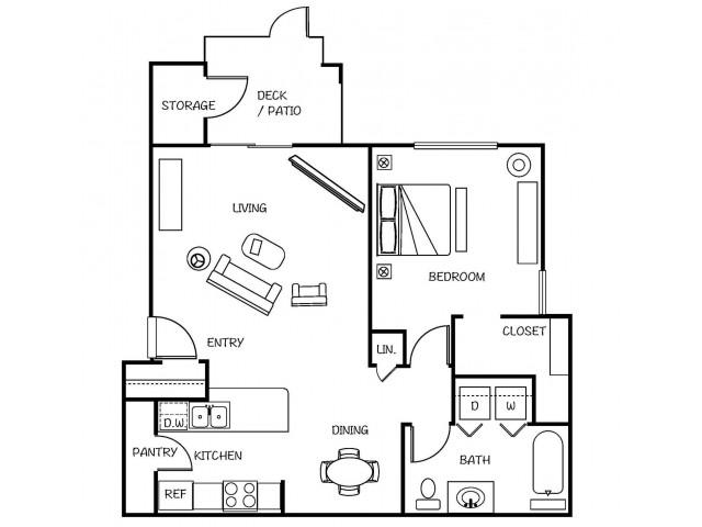 1 Bedroom Floor Plan | Tacoma Apartments | 1500 Orchard
