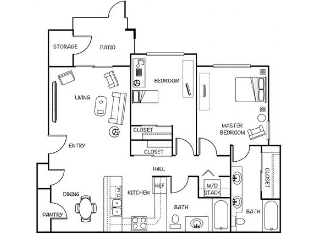 2 Bedroom Floor Plan | Tacoma Rentals | 1500 Orchard