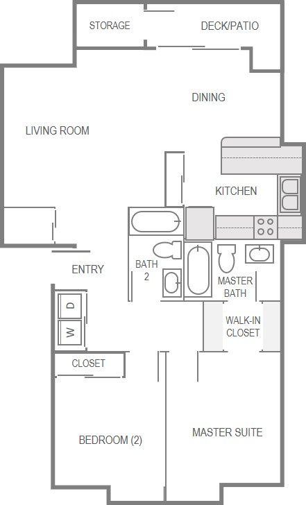 Nantucket Gate Apartment Layout- 2 Bedroom Deluxe