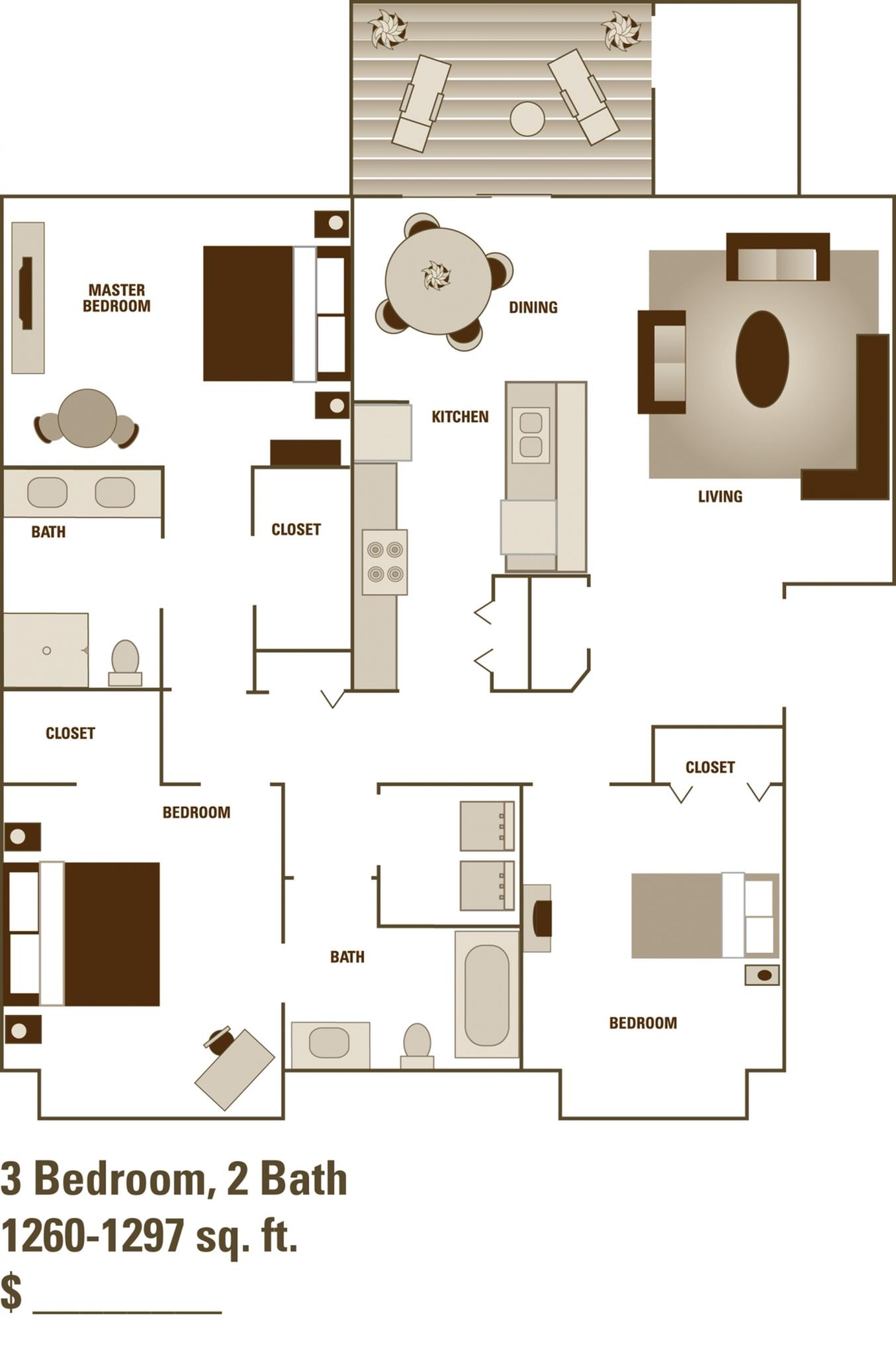 Alder Court, 3 bedroom floorplan