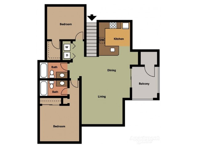 2 Bedroom 2 Bath w/Garage (G)