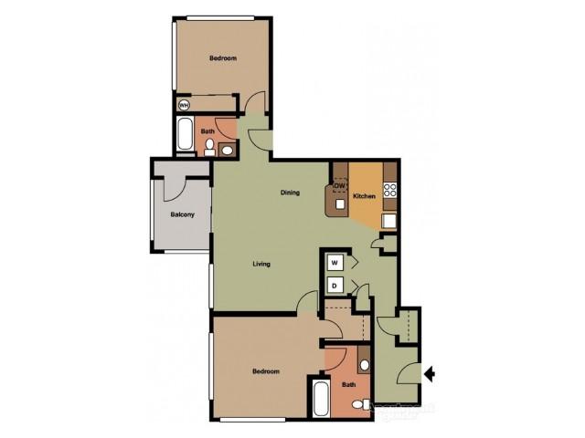2 Bedroom 2 Bath w/Garage (I )