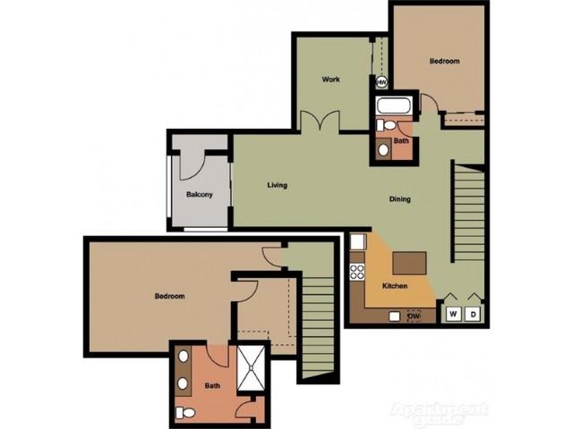 Two Bedroom Plus Den Townhome Style J w/ Garage