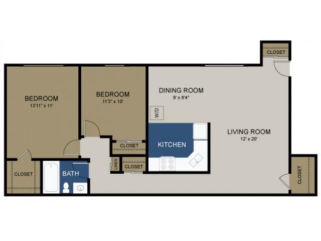 2 Bdrm Floor Plan | Amity Garden Apartments | Amity Garden Apartments 2