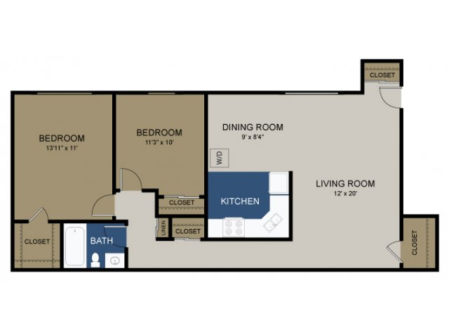 2 Bedroom Floor Plan | Apartments In Douglasville | Amity Garden Apartments