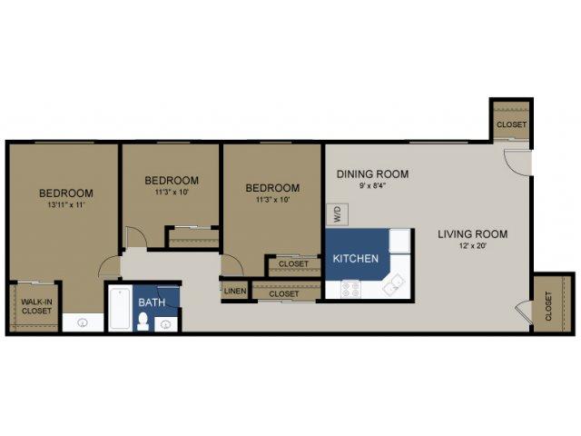 3 Bedroom Floor Plan | Douglassville Pa Apartments | Amity Garden Apartments