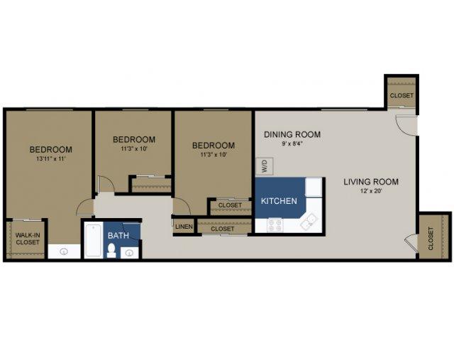 3 Bdrm Floor Plan | Amity Garden Apartments Douglassville Pa | Amity Garden Apartments 2