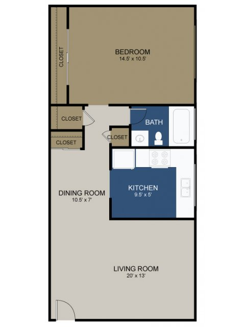 One-bedroom layout A floor plan at the Commons at Fallsington