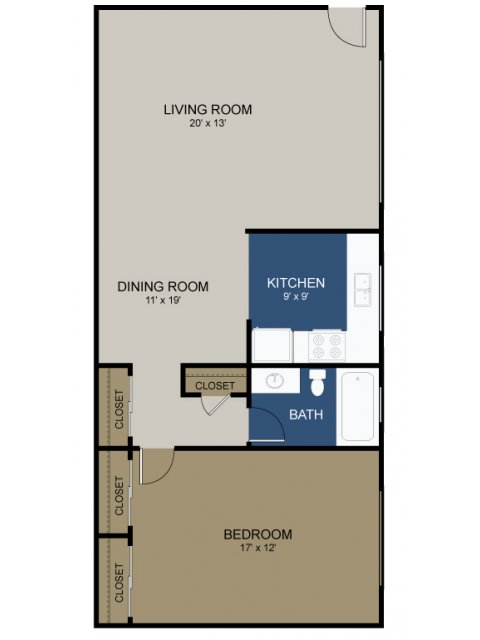 1 Bdrm Floor Plan | Apartments In Morrisville Pa For Rent | The Commons at Fallsington