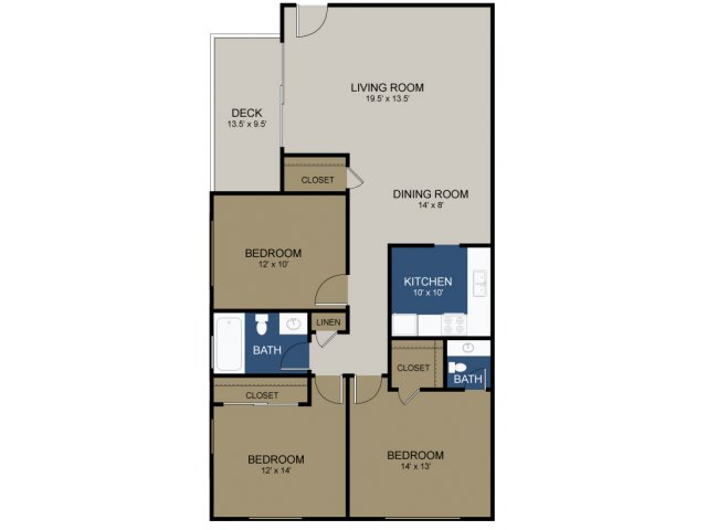 3 Bedroom Floor Plan | Apartments In Morrisville | The Commons at Fallsington