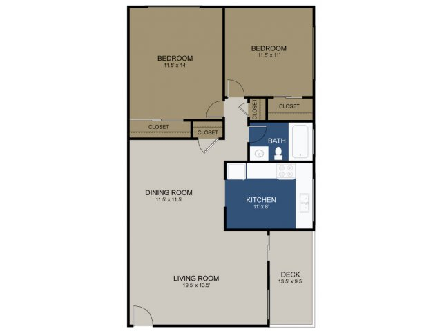 2 Bedroom Floor Plan | Apartments For Rent Morrisville Pa | The Commons at Fallsington