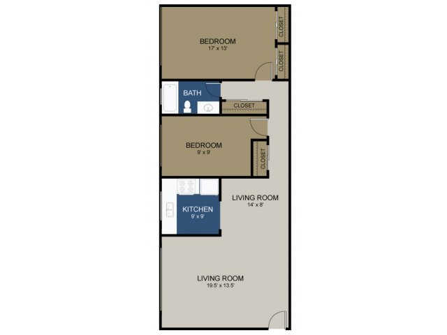 2 Bdrm Floor Plan | Morrisville Apartments | The Commons at Fallsington