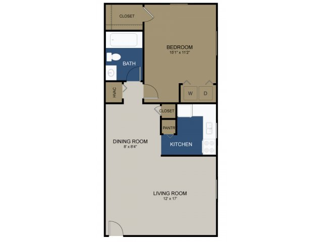 One-bedroom Avon floor plan at Wellington Woods
