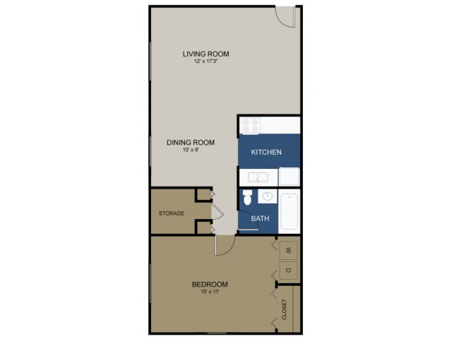 One-bedroom Cambridge floor plan at Wellington