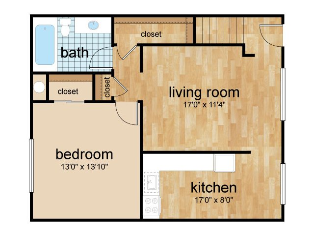 One-bedroom second level floor plan at Sterling Glen