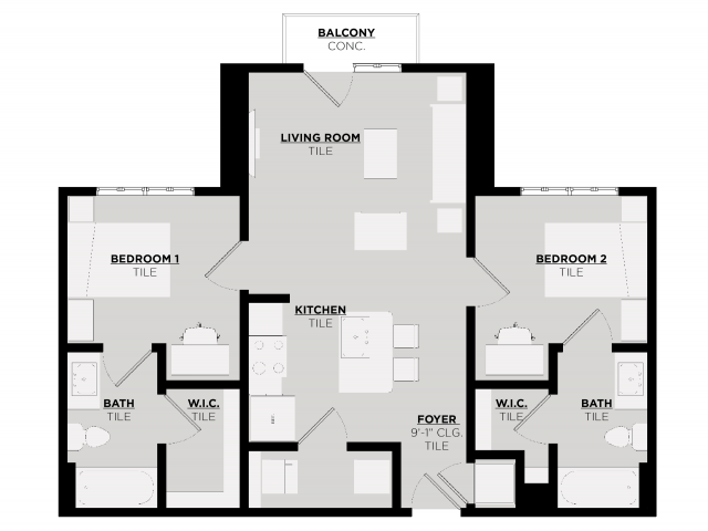 Floor Plan 3 | Tuscaloosa Apts | 513 Rock Point