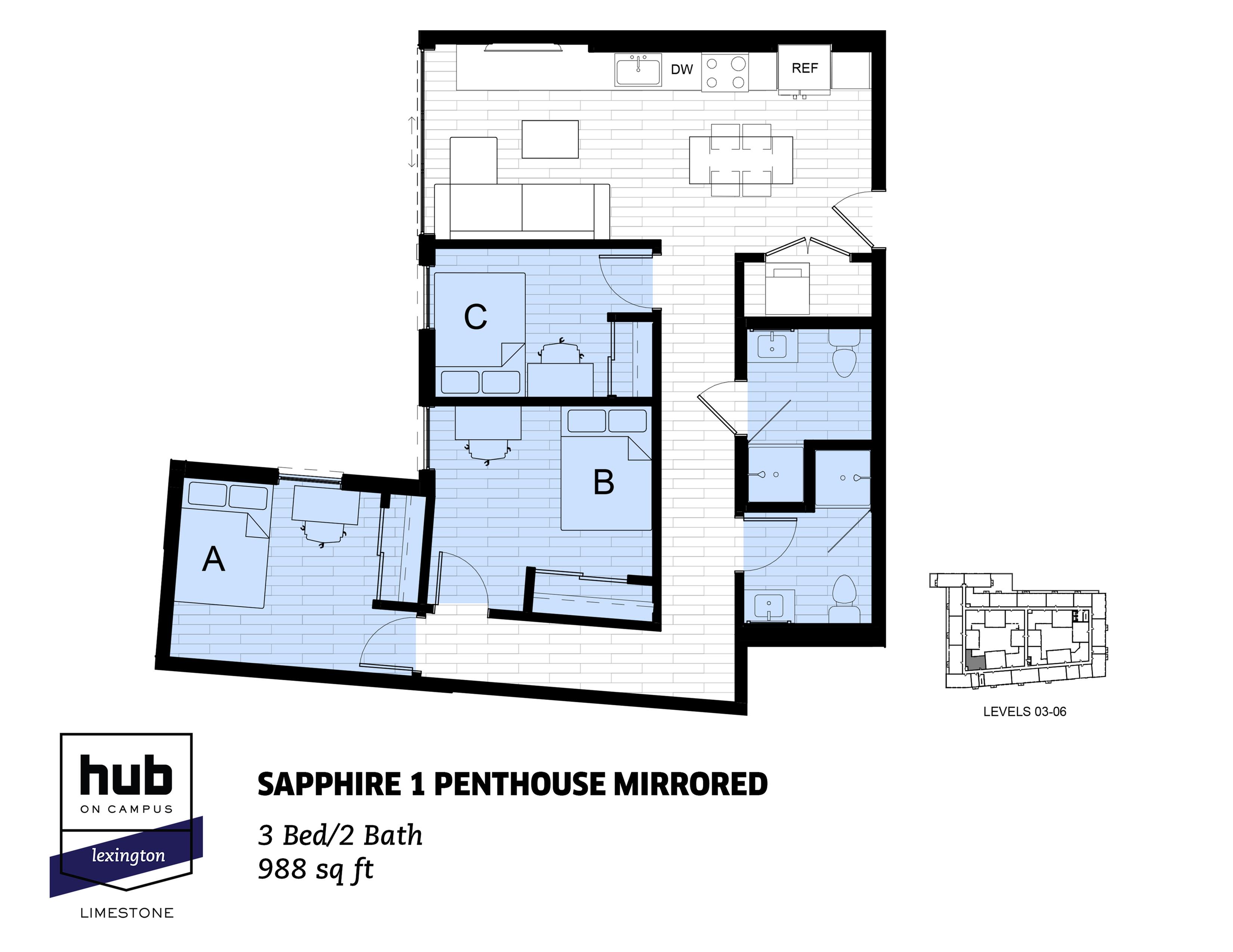 Sapphire 1 Penthouse Mirrored