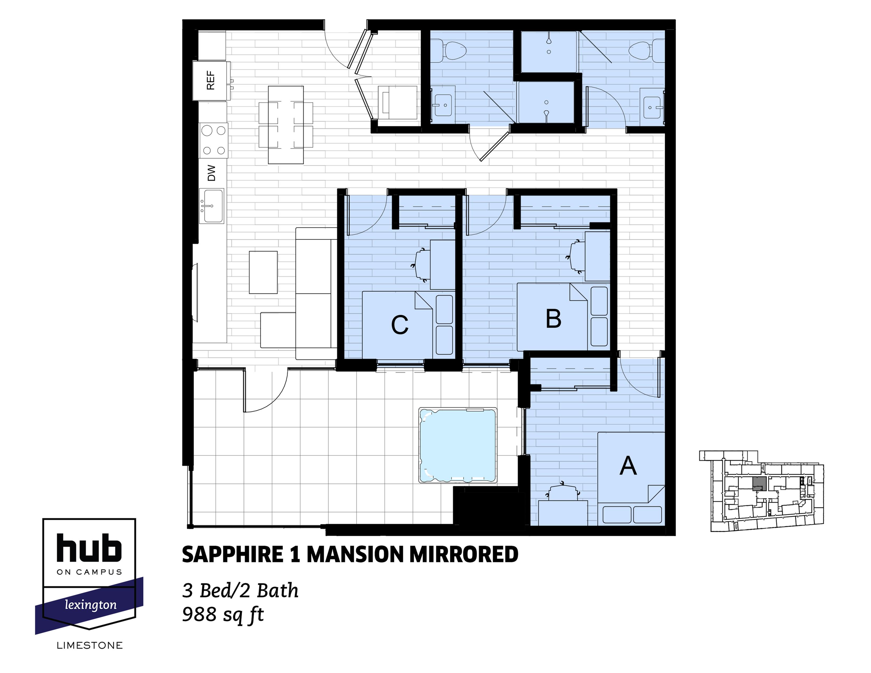 Sapphire 1 Mansion Mirrored