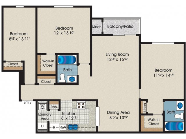 48 Bed 48 BathApartment In Rosedale MD Canterbury Apartments Awesome 4 Bedroom Apartments In Maryland Plans