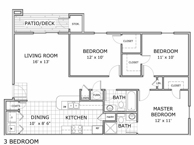 Watermill Park 3 bedroom apartment home floor plan image