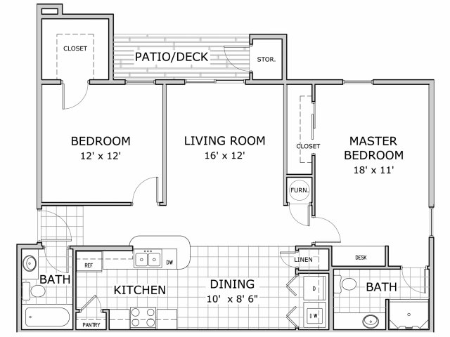 floor plan image of 2 bedroom apartment