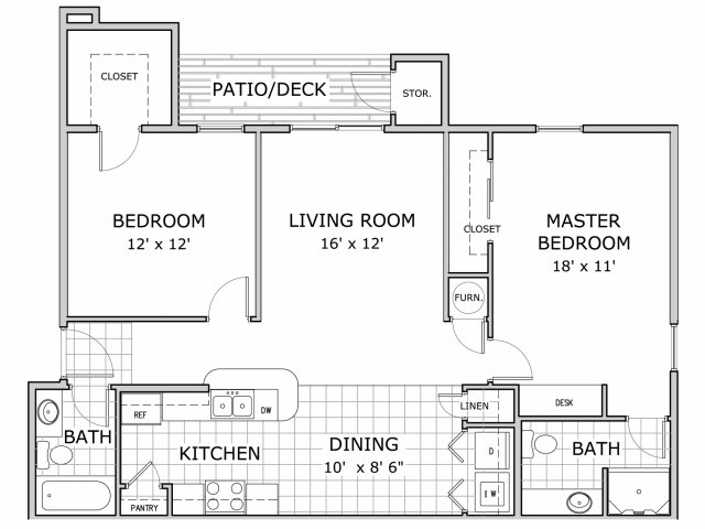floor plan image of 2 bedroom apartment at Cambridge Park