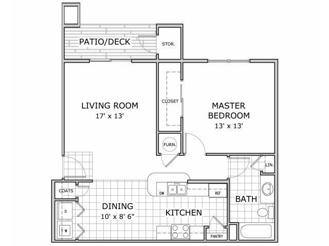 floor plan image of 1 bedroom apartment home