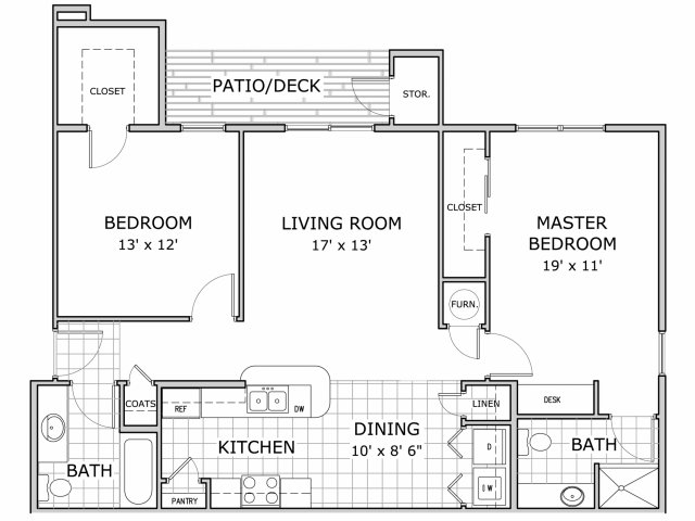 2 bedroom and 1 bathroom floor plan image
