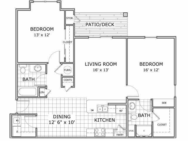 For The 2 Bedroom Floor Plan.